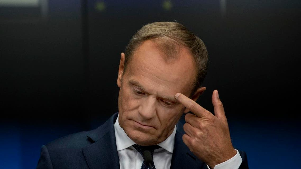 European Council President Donald Tusk delivers a statement during a joint news conference. (AP)