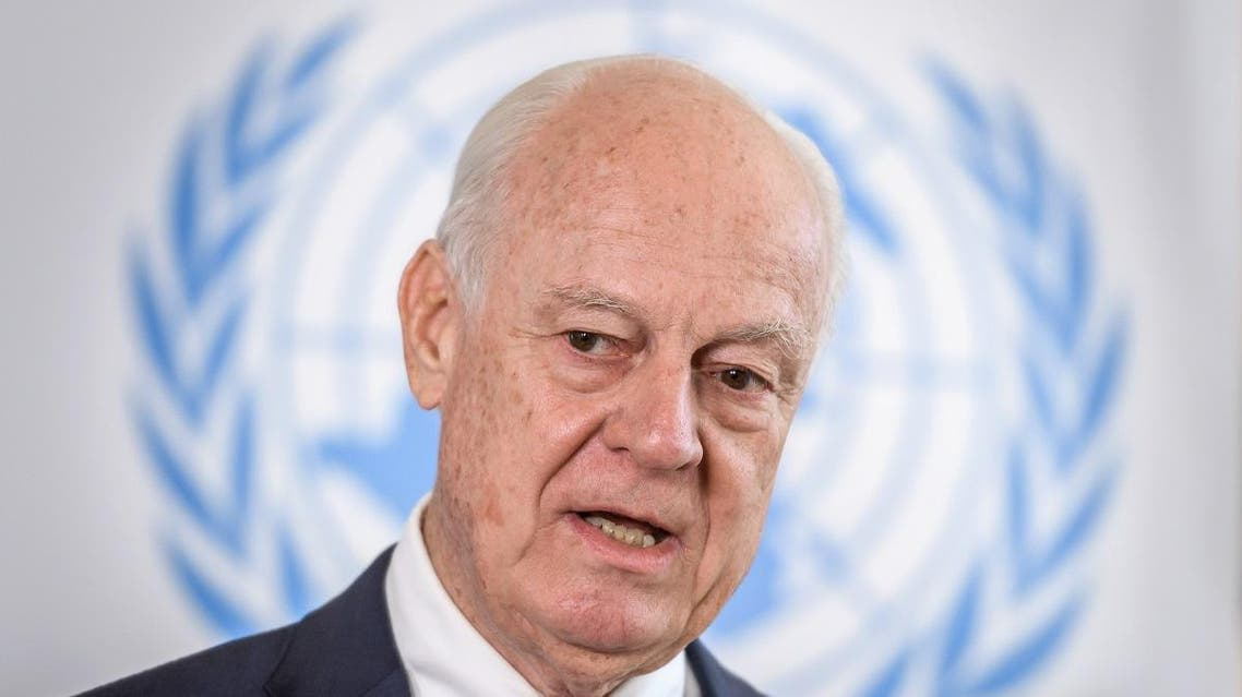 United Nations (UN) Special Envoy for Syria, Staffan de Mistura speaks during a press conference in Geneva. (AFP)