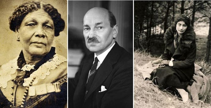 المرشحون الثلاثة للتكريم على ورقة الخمسين إسترلينيا، نور النسا خان وكليمنت أتلي وميري سيكول