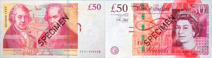 50 پوند کنونی بریتانیا