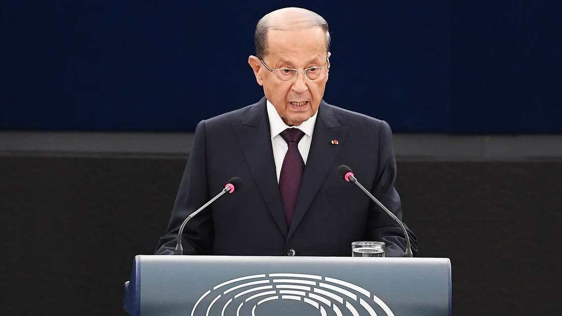 Lebanese President Michel Aoun delivers a speech during a plenary session at the European Parliament on September 11, 2018 in Strasbourg, eastern France.