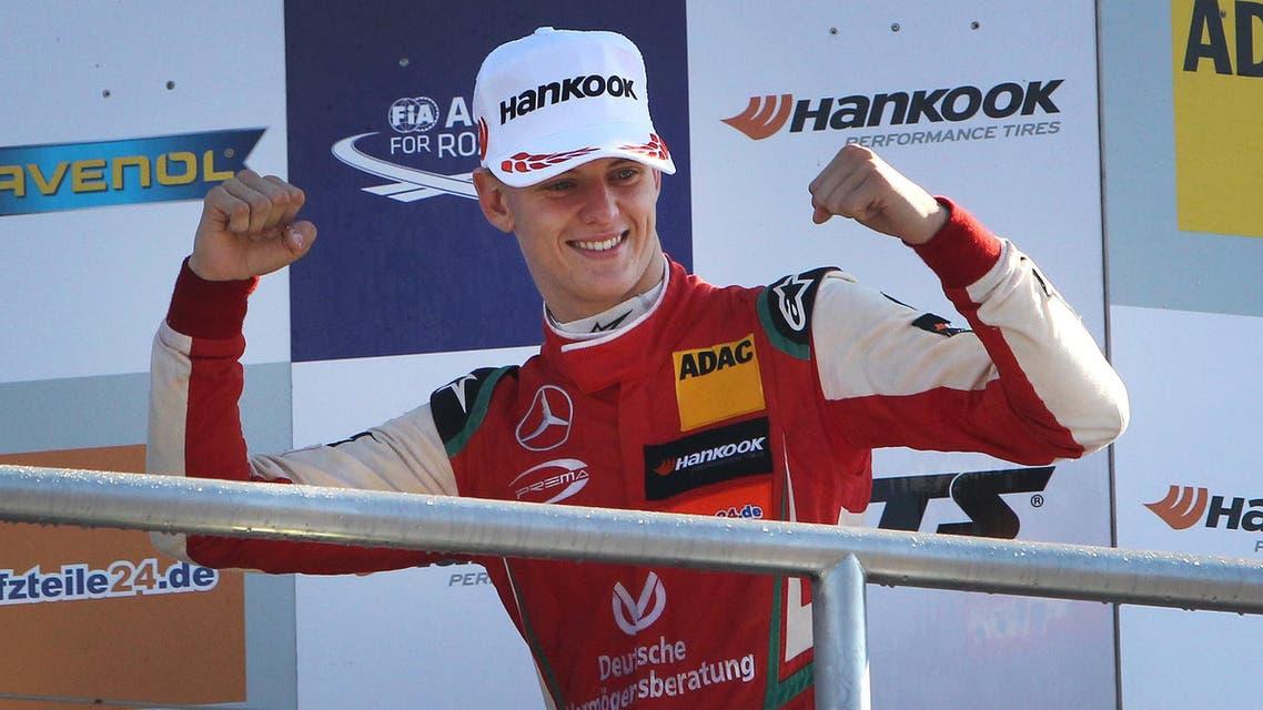 Mick Schumacher celebrates after winning the FIA Formula Three European Championship in Hockenheim, Germany, on October 14, 2018. (AFP)