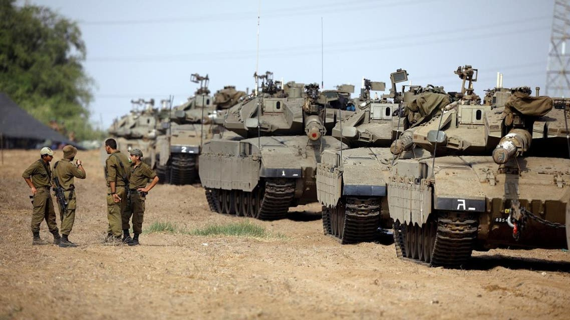 Israeli tanks along Gaza border. (Reuters)