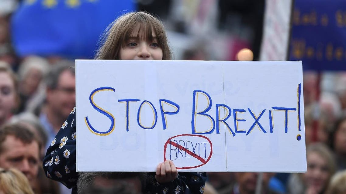 Protesters participate in an anti-Brexit demonstration at City Hall in central Belfast. (Reuters)