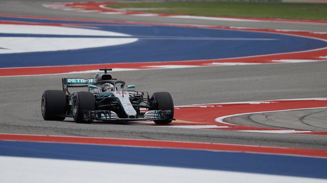 Mercedes driver Lewis Hamilton, of Britain, drives his car during final practice session for the Formula One US Grand Prix. (AP)