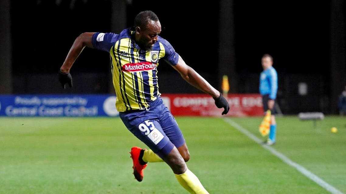Central Coast Mariners' Usain Bolt in action. (Reuters)