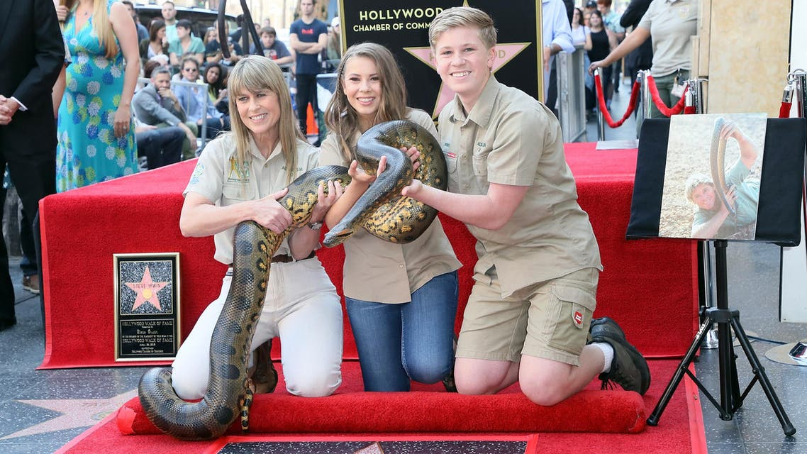 Terri Irwin, Bindi Irwin and Robert Irwin attend Steve Irwin being honored posthumously with a Star on the Hollywood Walk of Fame on April 26, 2018 in Hollywood. (AFP)