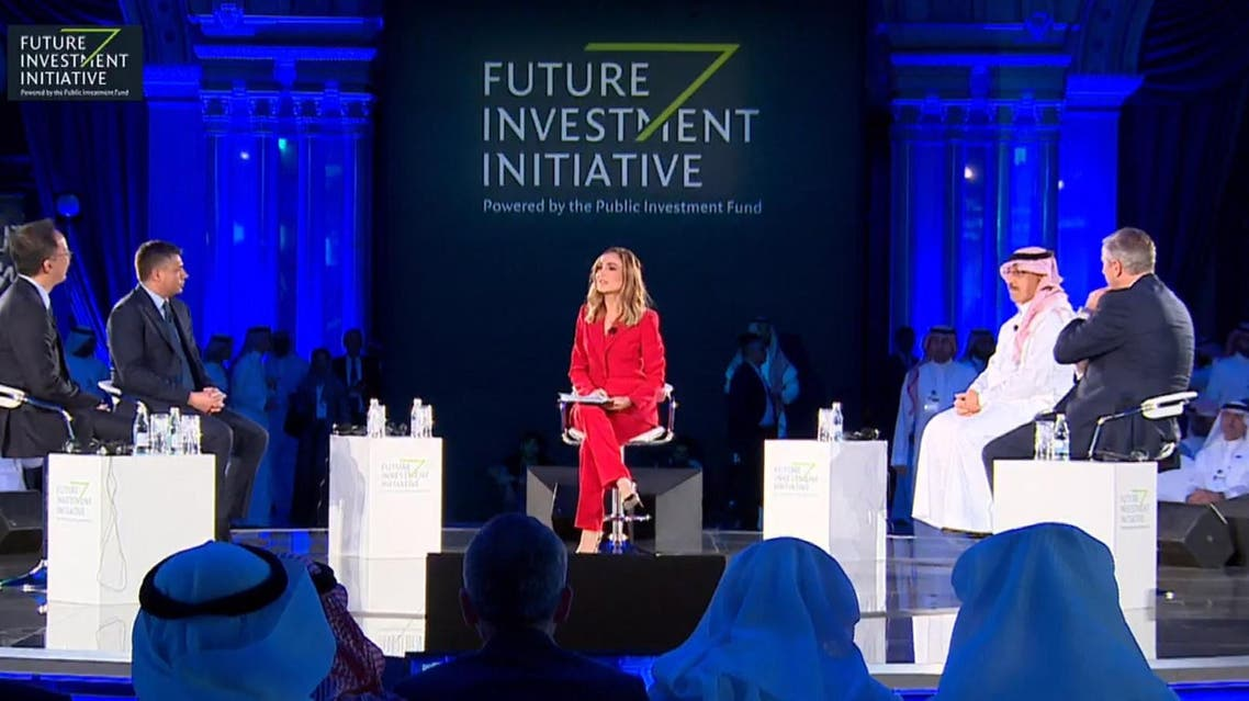 Al Arabiya Senior Business Presenter Nadine Hani moderates a panel session at the FII 2018. (Al Arabiya)