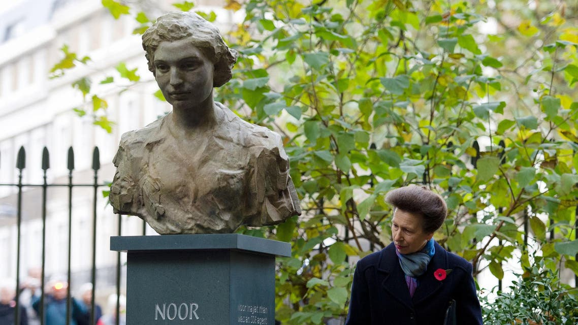 Britain's Princess Anne looks at a sculpture of Noor Inayat Khan after an unveiling ceremony in central London, on November 8, 2012. (AFP)