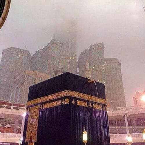The Kaaba, the cubic shaped structure that Muslims regard as the house of God, has been itself covered with rainwater. (Supplied)