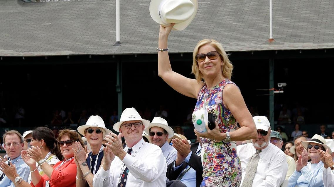 Tennis Hall of Famer Chris Evert waves to applause as she arrives at the International Tennis Hall of Fame in Newport, Rhode Island. (AP)