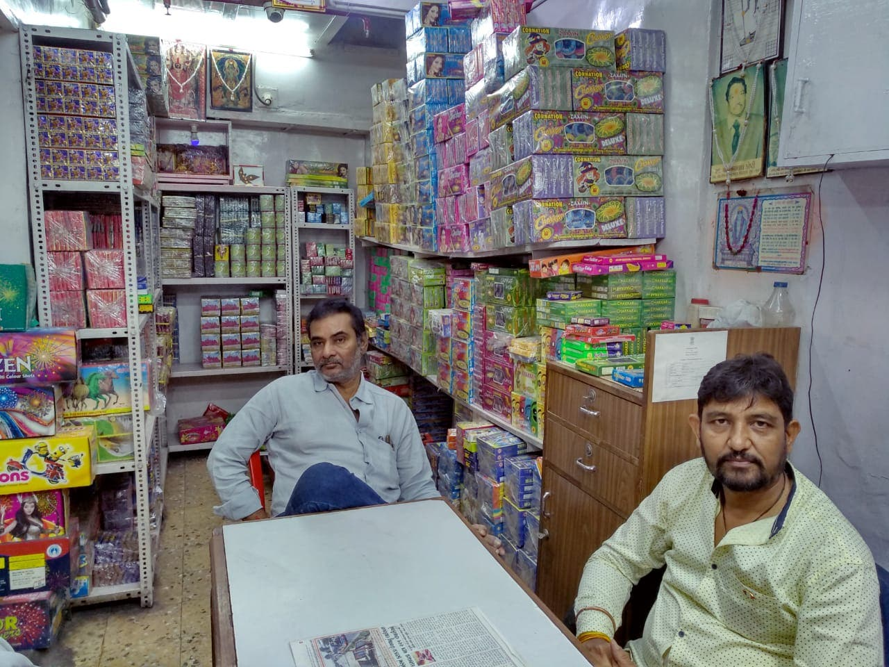 Wholesaler Rasraj Koshti (right) says many despondent cracker traders may switch to another business. (Supplied)