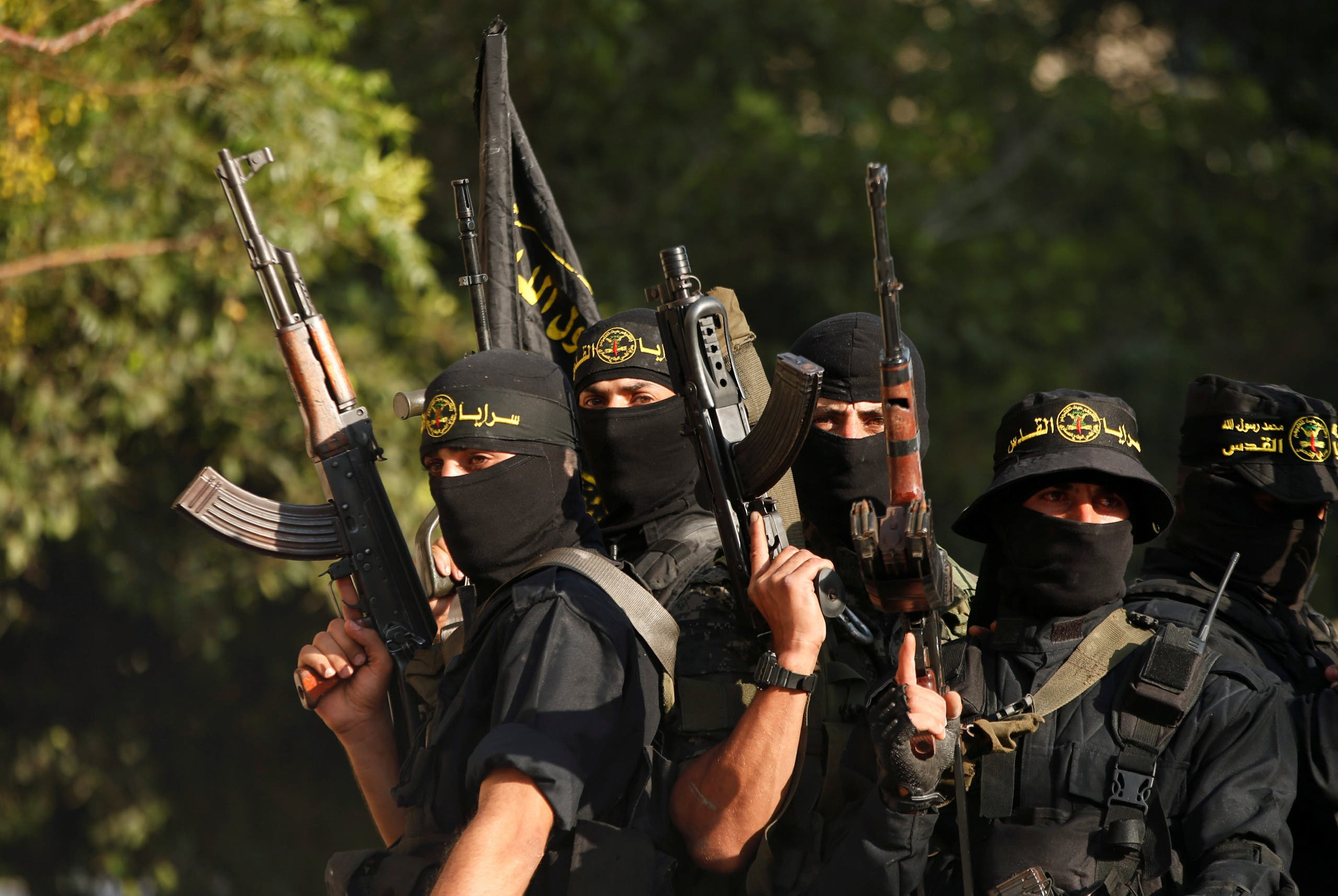 Palestinian Islamic Jihad militants participate in a military show in Gaza City October 4, 2018. (Reuters)
