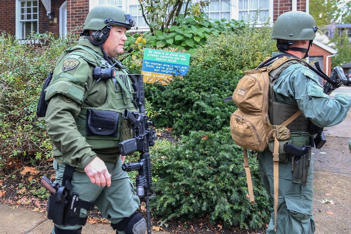 SWAT police officers respond after a gunman opened fire at the Tree of Life synagogue in Pittsburgh Pennsylvania. (Reuters)