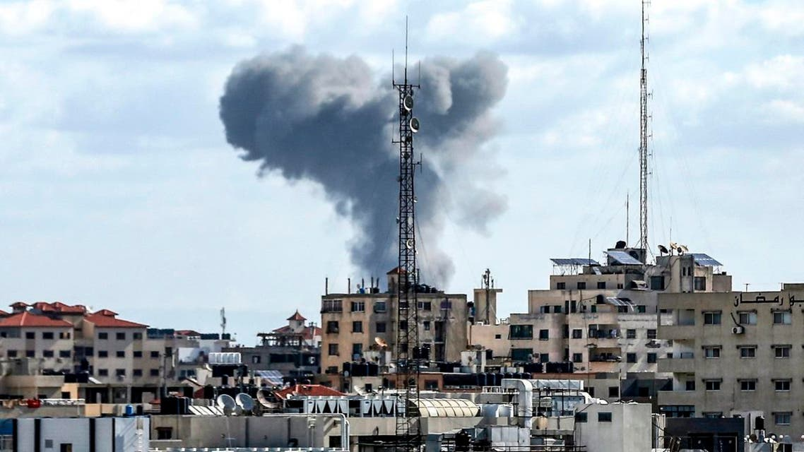 This picture taken on October 27, 2018 shows a smoke plume rising following Israeli bombardment in Gaza City. (AFP)