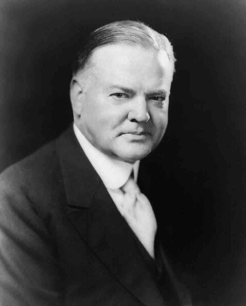 صورة لمرشح الحزب الجمهوري هربرت هوفر