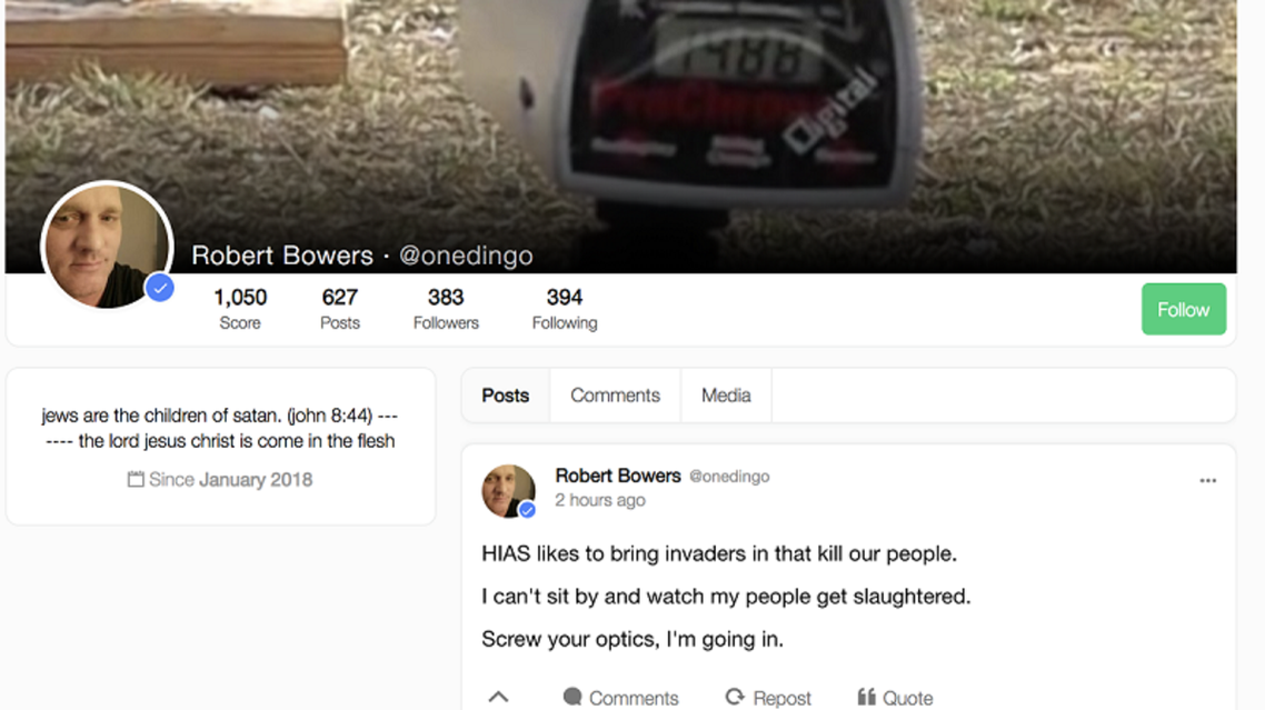 A screenshot shows alleged shooter Robert Bowers' profile on Gab, a social media platform popular among neo-Nazis, soon after the shooting Saturday.
