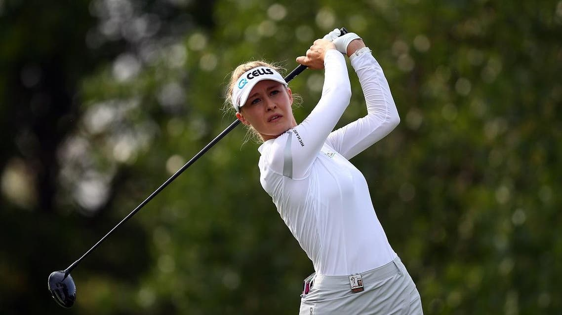 Nelly Korda of the United States hits her tee shot on the second hole during the first round of the CP Womens Open at the Wascana Country Club on August 23, 2018 in Regina, Canada. (AFP)