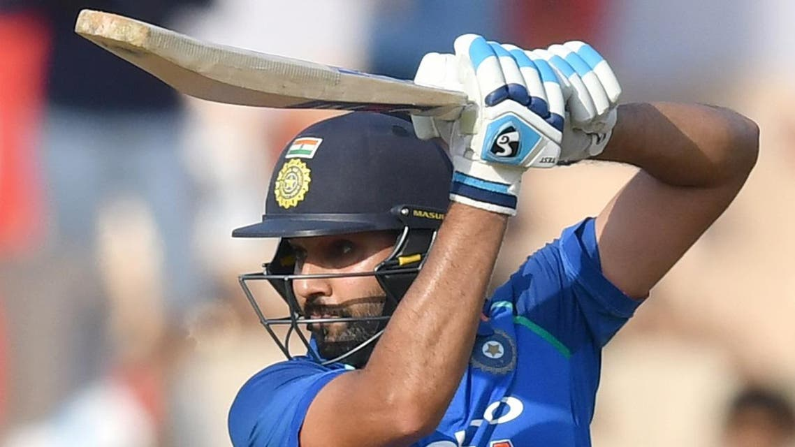 Rohit Sharma plays a shot during the fourth ODI match between India and West Indies at the Brabourne Stadium in Mumbai on October 29, 2018. (AFP)