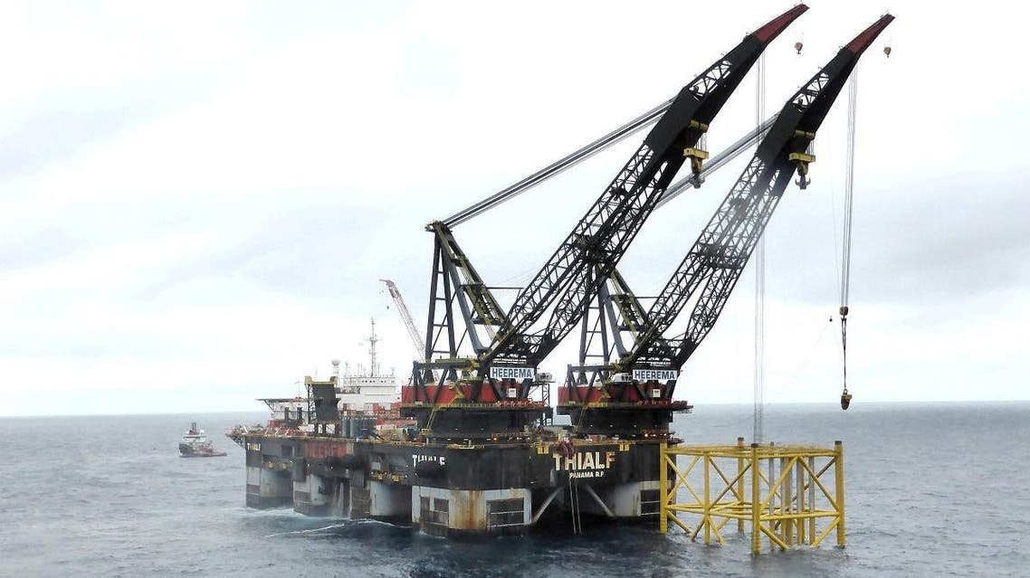 A view of an oil platform in Johan Sverdrup oilfield in the North Sea. (Reuters)