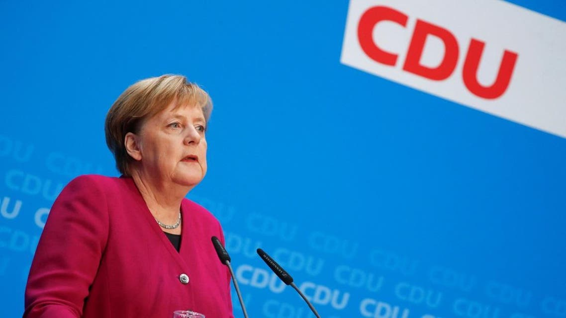 German Chancellor Angela Merkel attends a news conference following the Hesse state election in Berlin. (Reuters)