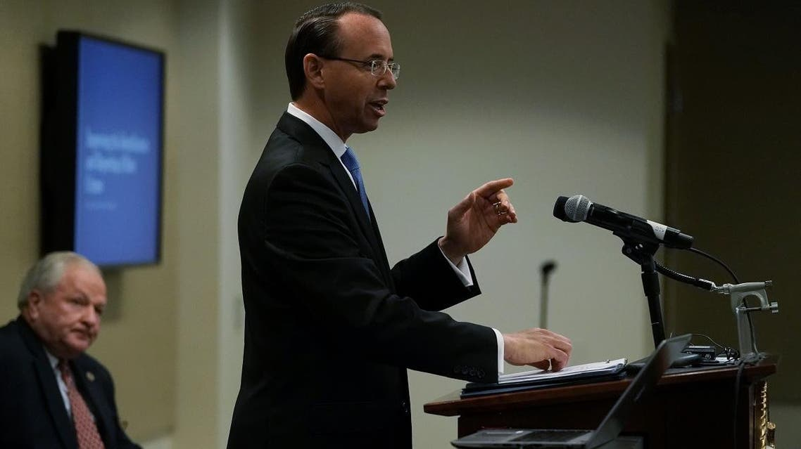 US Deputy Attorney General Rod Rosenstein delivers remarks during a law enforcement roundtable on improving the identification and reporting of hate crimes October 29, 2018, in Washington, DC. (AFP)