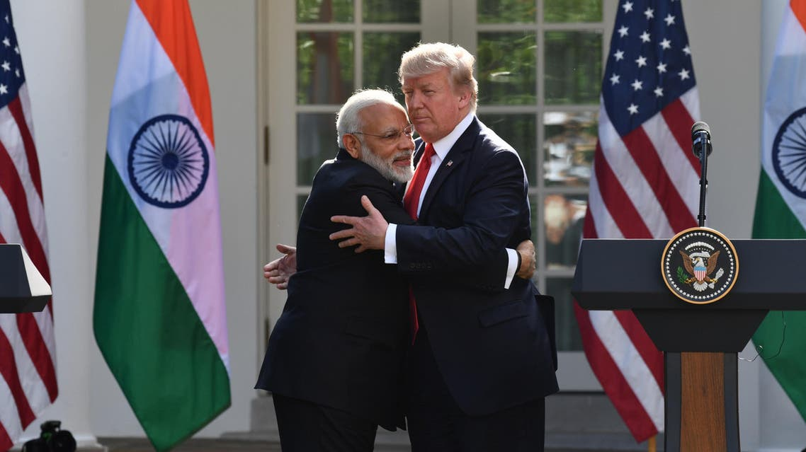 President Trump and Prime Minister Modi in the Rose Garden at the White House in Washington, DC, on June 26, 2017. (AFP)