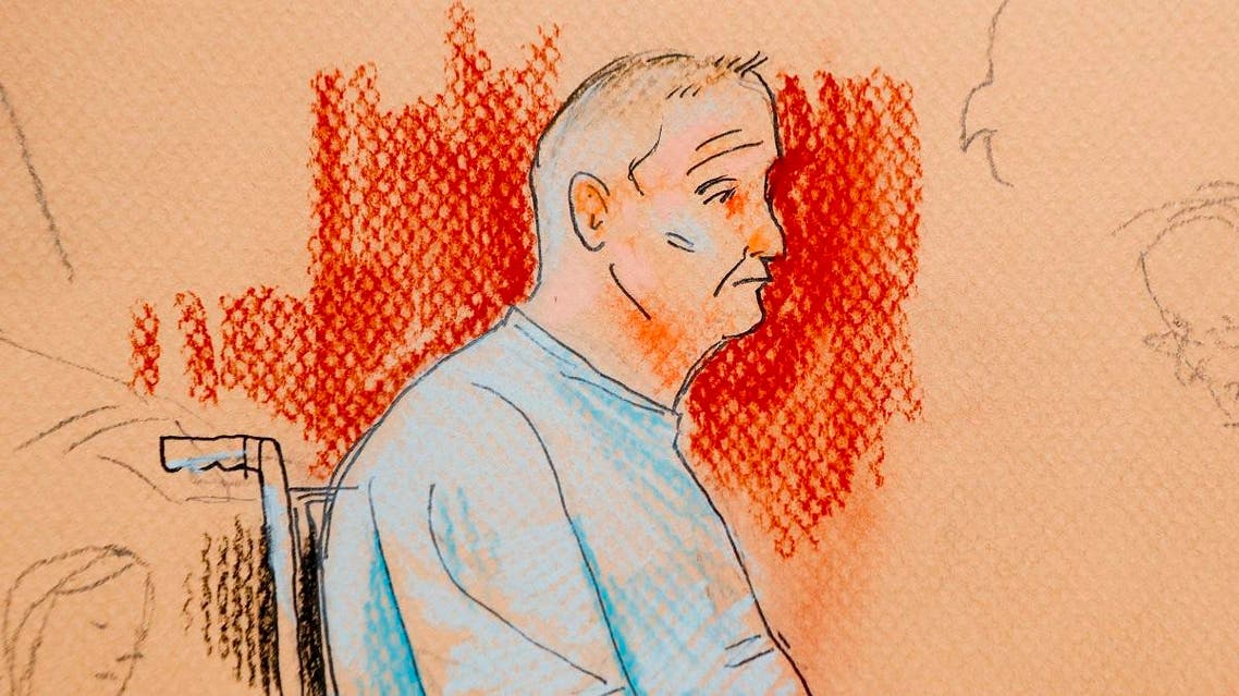 Courtroom sketch depicts Robert Gregory Bowers, who was wounded in a gun battle with police as he appeared in a wheelchair at federal court. (AP)