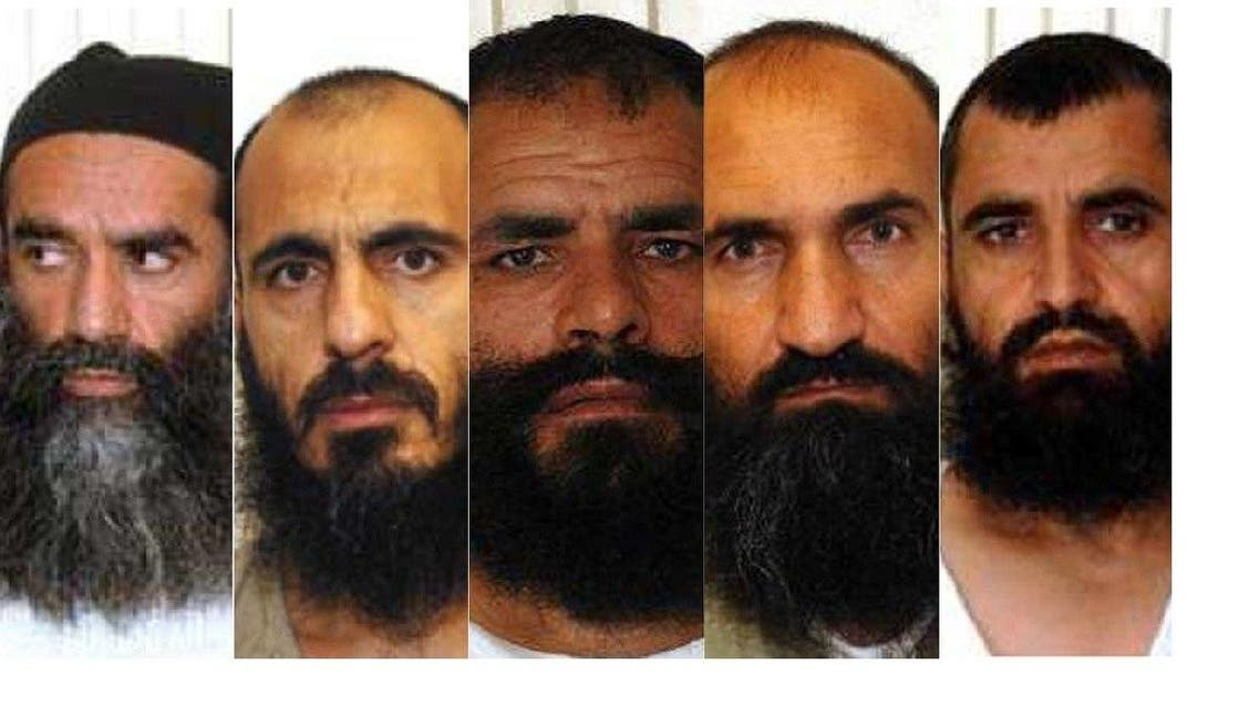 The five Guantanamo Bay detainees swapped for Sgt. Bowe Bergdahl are, from left, Mullah Norullah Nori, Mohammed Nabi Omari, Mohammed Fazl, Khairullah Khairkhwa and Abdul Haq Wasiq. (U.S. Department of Defense)