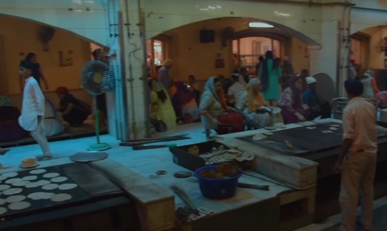 The langar meal traditionally consists of lentils, rice, vegetables and flat bread. (Screengrab)
