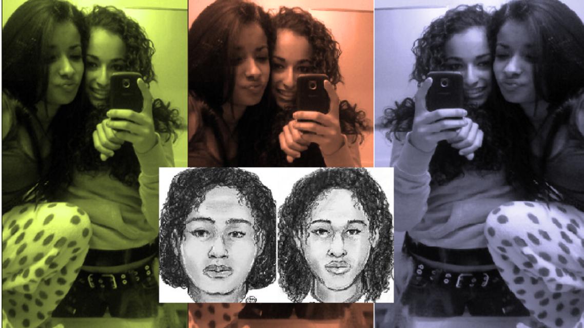 رسمان لتالا وروتانا، كما وزعتهما الشرطة، وصورة من مواقع التواصل