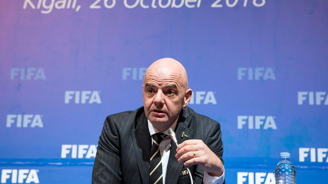 FIFA President Gianni Infantino addresses a news conference in Kigali, Rwanda. (Reuters)