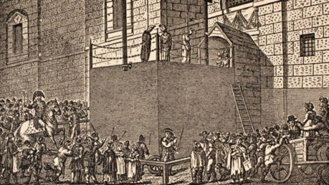 رسم تخيلي لإحدى عمليات الإعدام بسجن نيوغيت