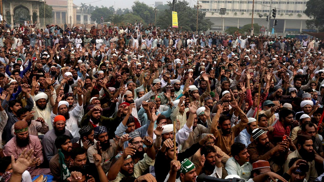 Radical Islamists rally to condemn a Supreme Court decision that acquitted Asia Bibi in Lahore on Nov. 1, 2018. (AP)