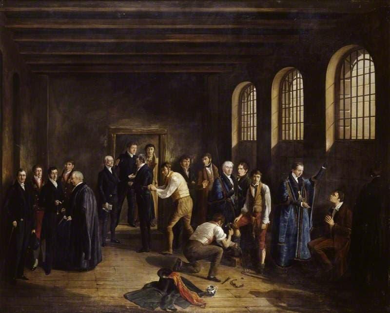 لوحة زيتية تجسد فونتلروي لحظة تلقيه لزيارة القس داخل زنزانته قبل اقتياده نحو حبل المشنقة