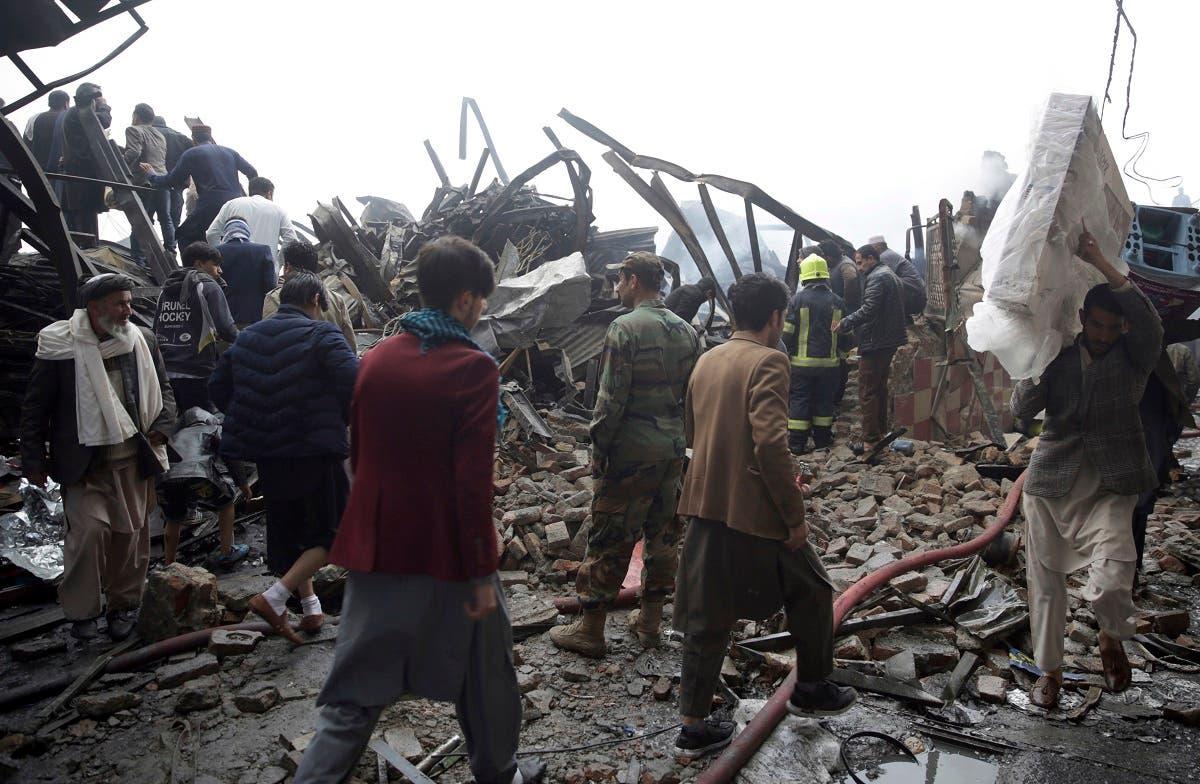 Afghanistan market fire. (AP)