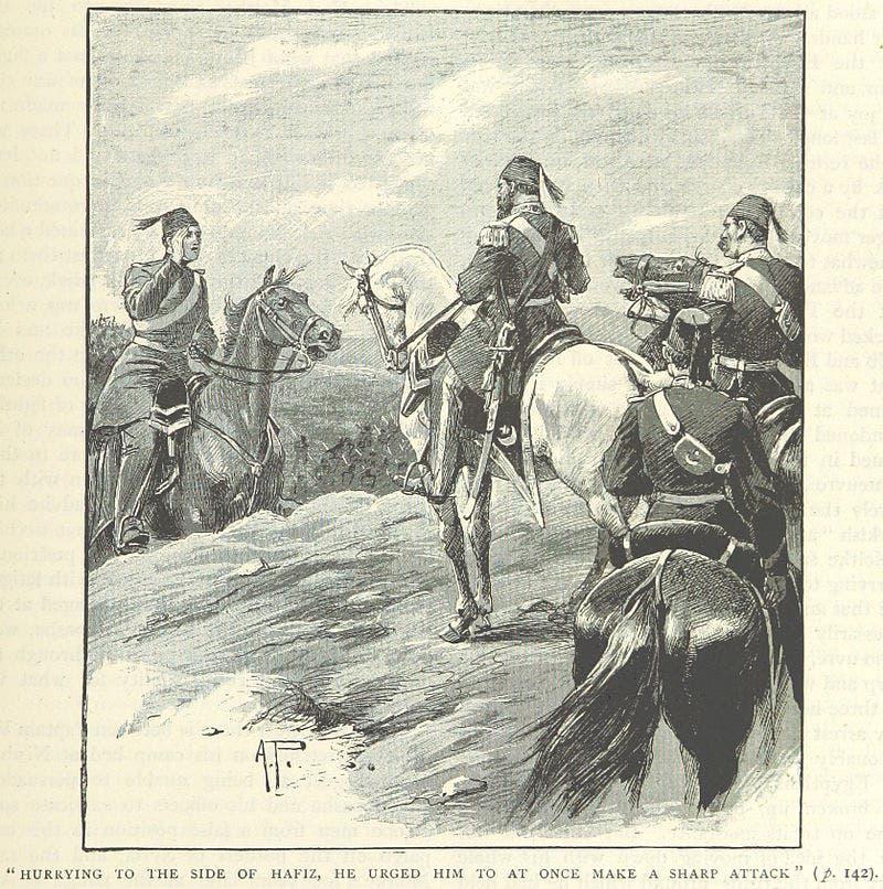 صورة للخبير العسكري البروسي فون مولك على يسار الصورة وهو يقدم نصائح للمسؤولين العثمانيين قبل معركة نصيبين