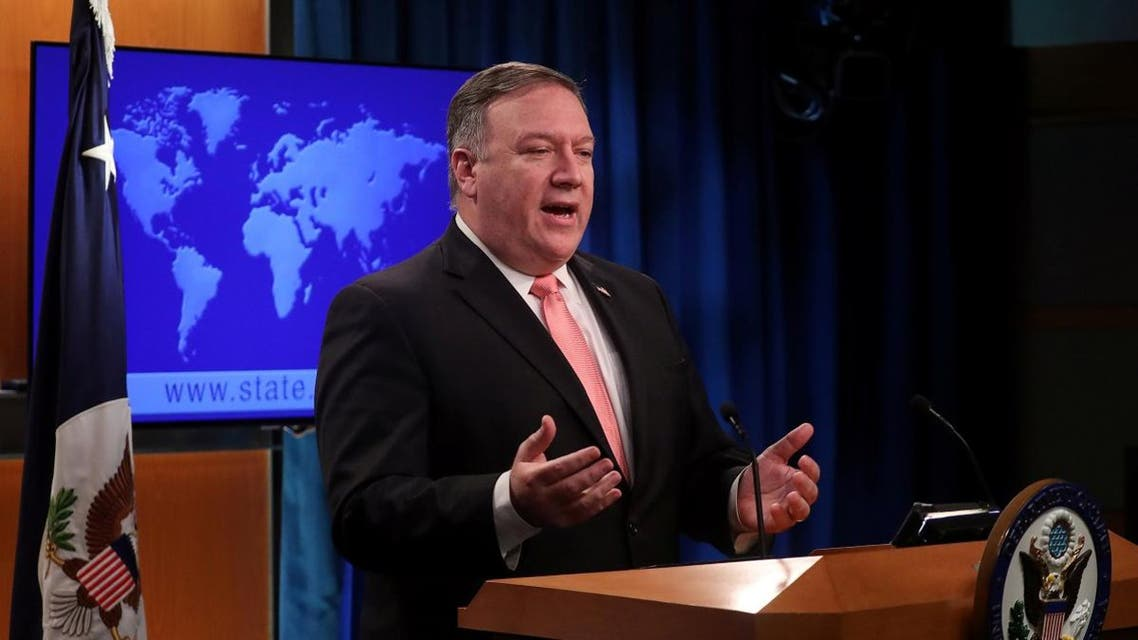 Pompeo speaks to reporters during a news briefing at the State Department in Washington. (Reuters)