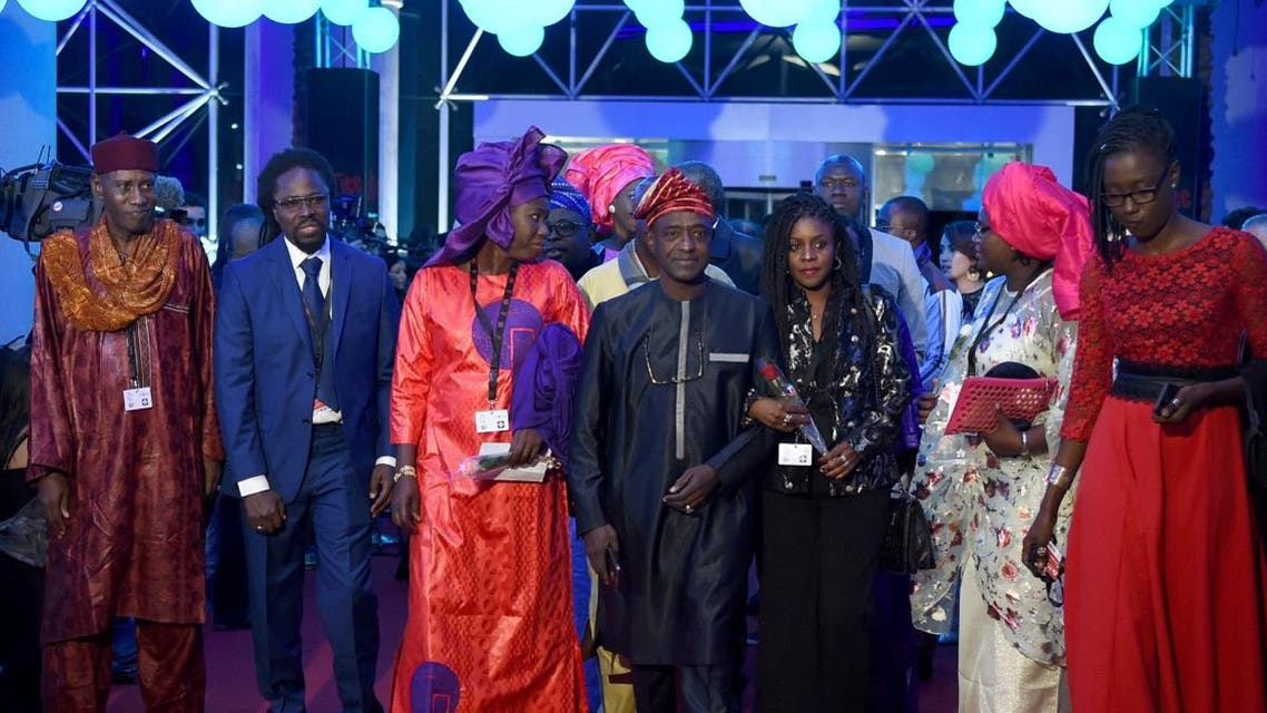 Senegal's delegation arrives at the opening ceremony of the 29th edition of Carthage Film Festival. (AFP)