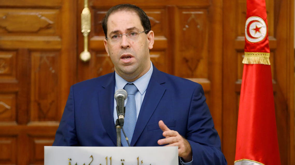 FILE PHOTO: Tunisia's Prime Minister Youssef Chahed attends a news conference in Tunis, Tunisia, October 26, 2018. REUTERS/Zoubeir Souissi/File Photo