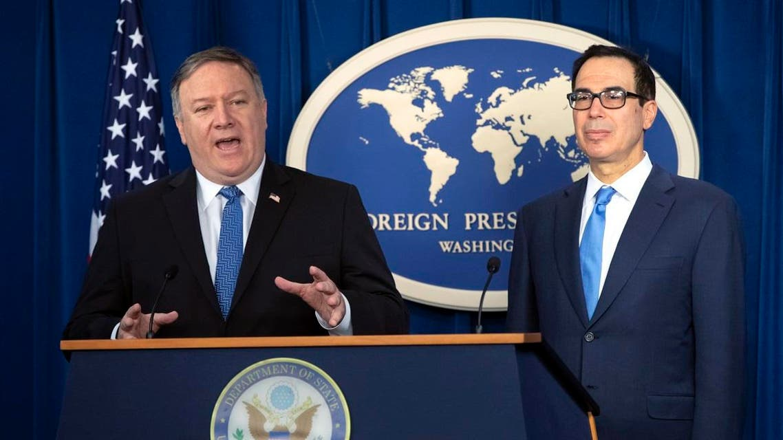 Secretary of State Mike Pompeo, left, and Treasury Secretary Steven Mnuchin, present details of the new sanctions on Iran. (AP)