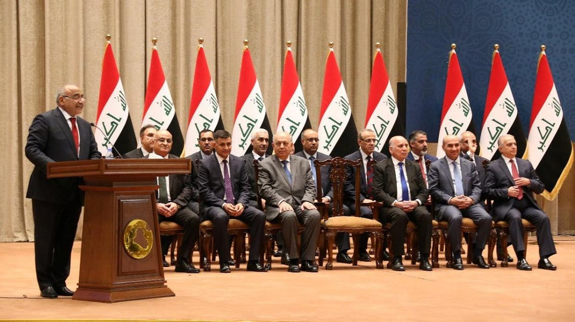 Iraq's Prime Minister-designate Adel Abdul Mahdi speaks to parliament as he announces his new cabinet at parliament headquarters in Baghdad. (Reuters)