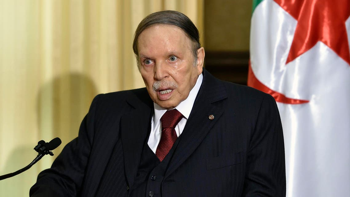 In this file picture, Algerian President Abdelaziz Bouteflika meets with the French prime minister at his residence during an official visit on April 10, 2016 in Zeralda, a suburb of the capital Algiers. Algeria's frail President Abdelaziz Bouteflika, in power since 1999, will stand for a fifth term at elections next year, the head of his party said on October 28. National Liberation Front chief Djamel Ould Abbes said Bouteflika, who suffered a stroke in 2013, would be the party's candidate at the vote set for April 2019, state news agency APS reported. Bouteflika, 81, has yet to officially announce his candidacy.