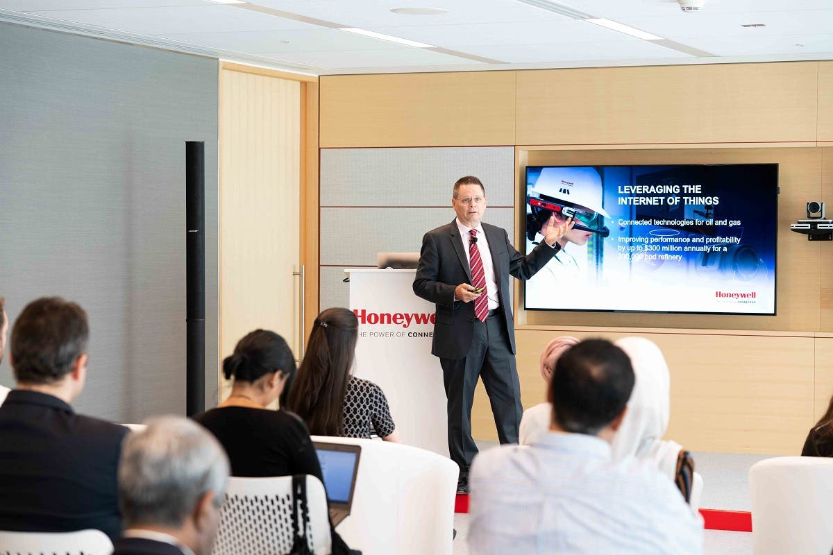 Norm Gilsdorf, president, Honeywell, High Growth Regions, Middle East and Russia, addresses the audience at the official opening of the Honeywell Technology Experience Center