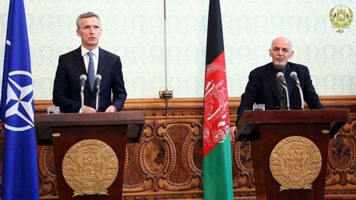 محمد اشرف غنی رئیسجمهوری افغانستان و ینس استولتنبرگ دبیرکل ناتو