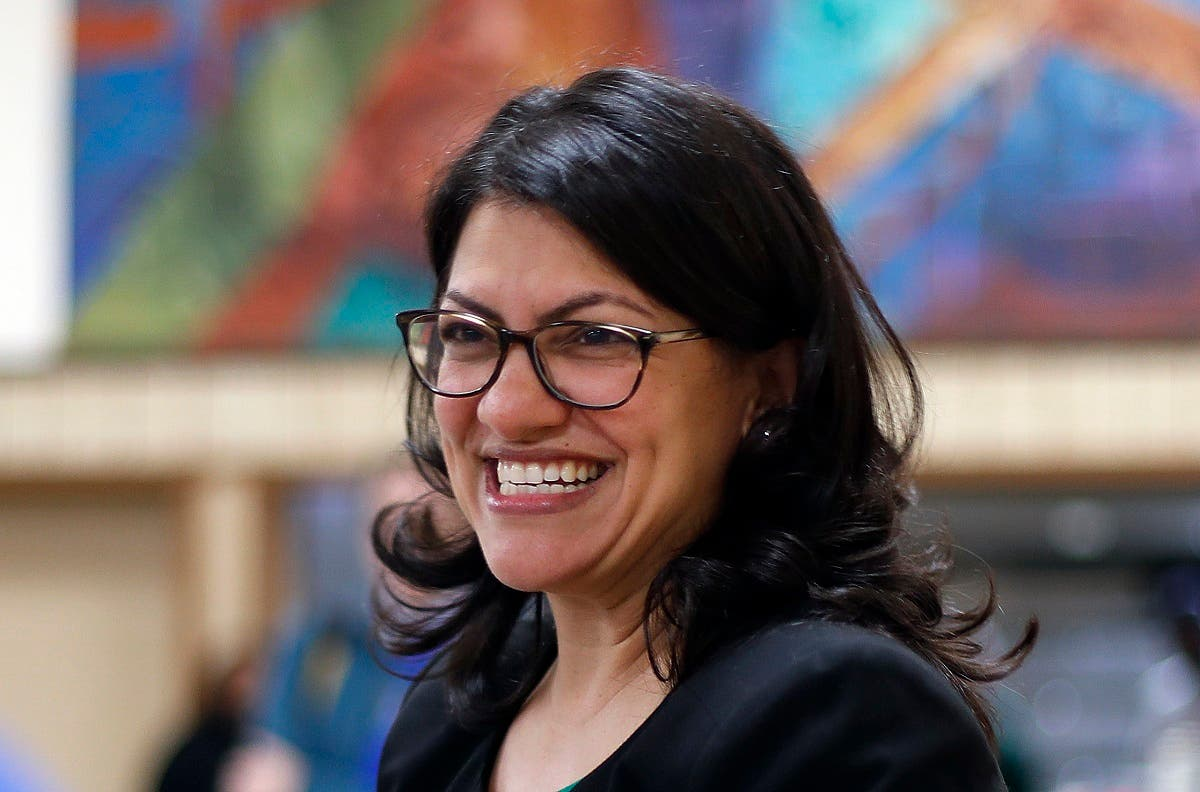 Rashida Tlaib, Democratic candidate for the Michigan's 13th Congressional District, smiles during a rally in Dearborn, Mich. (AP)