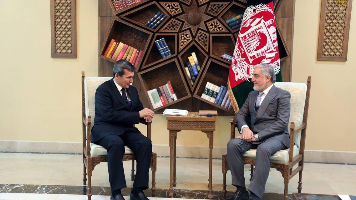 عبدالله عبدالله رئیس اجراییه افغانستان و رشید مرادف وزیر امور خارجه ترکمنستان