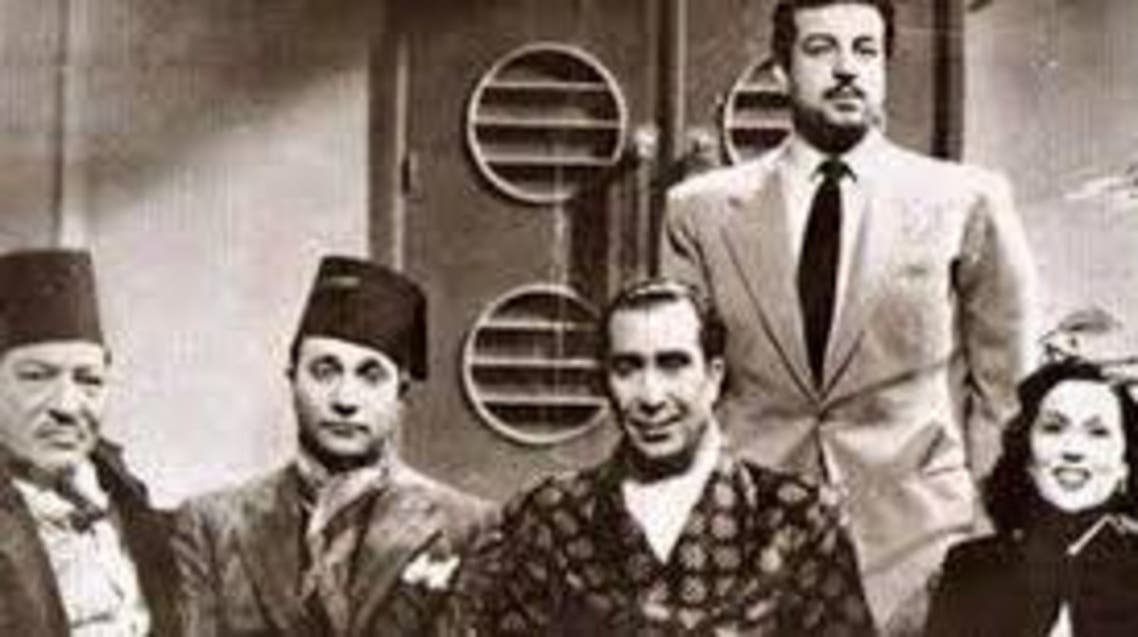 photograph of Youssef Wahbi, Naguib el-Rihani, Mohammed Abdel Wahab, Anwar Wagdi, and Leila Mourad (Supplied)