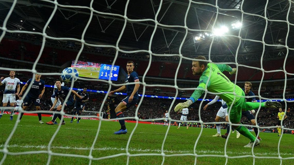 Tottenham Hotspur's Harry Kane scores a second goal during the UEFA Champions League match between Tottenham Hotspur and PSV Eindhoven at Wembley. (AFP)