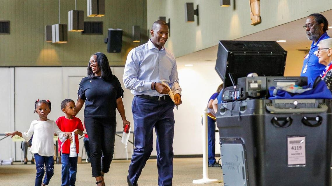 Democratic gubernatorial candidate Andrew Gillum at his polling place on election day in Tallahassee. (Reuters)